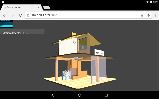 the screenshot of the 3d home model for interacting with oc servers registered by the smart home